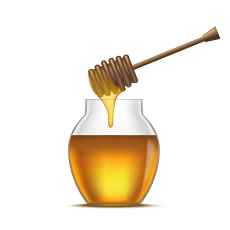 dipper: Realistic Detailed Dipper and Glass Jar Honey. Vector