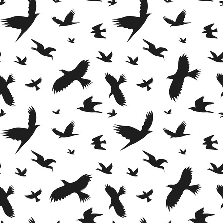 starling: Silhouette Black Fly Birds Background Pattern. Vector Illustration