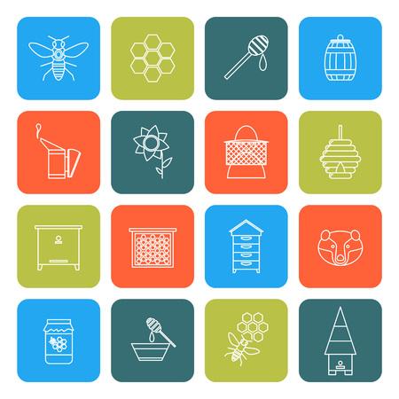 beekeeper: Beekeeping Thin Line Icons Set. Vector