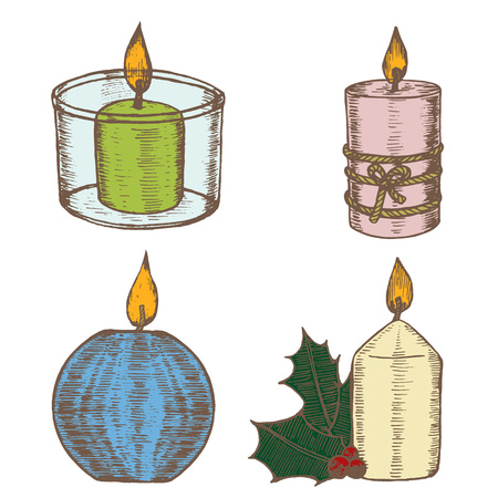 burning: Candles Color Set Hand Draw Sketch Old Decoration and Retro Design. Vector illustration
