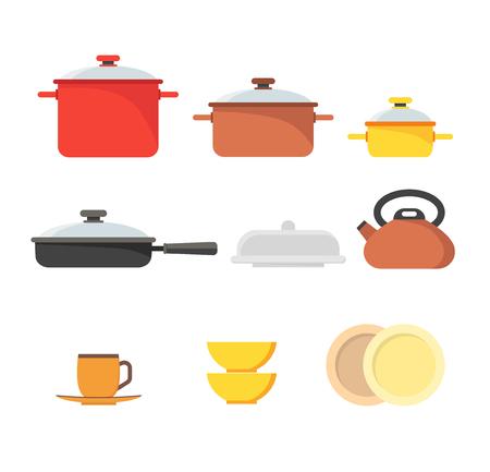 Cartoon Cookware Set Row. Vector