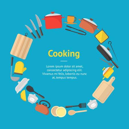 utensilios de cocina: Tarjeta De la Bandera Del Cookware De La Historieta. Vector Vectores