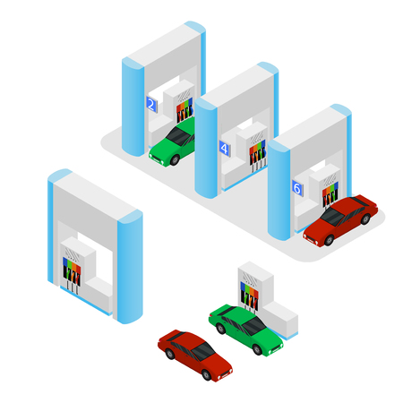 Gas Station Building and Cars Isometric View. Vector Illustration