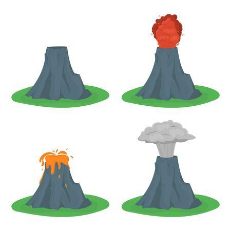 powerful volcano: Cartoon color volcano erupting set.