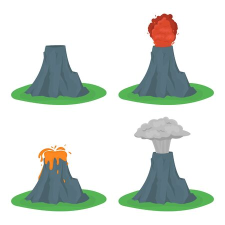 Cartoon color volcano erupting set.