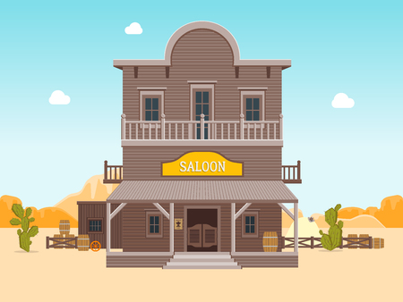 Cartoon Building Saloon on a Landscape Background. Vector