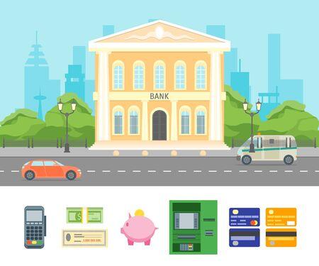 ortseingangsschild: Cartoon-Gebäude-Bank auf einem Stadt-Landschaftshintergrund. Vektor