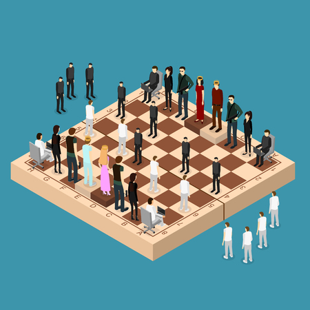 Chess People Figures on a Chessboard Isometric View. Vector Illustration