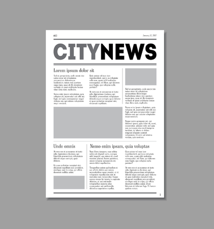 reportage: Newspaper City News with Headers. Vector