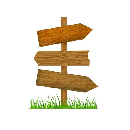 Direction Wooden Arrow. Vector