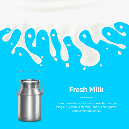 tin packaging: Banner Card with Realistic Metal Shiny Milk Container. Vector