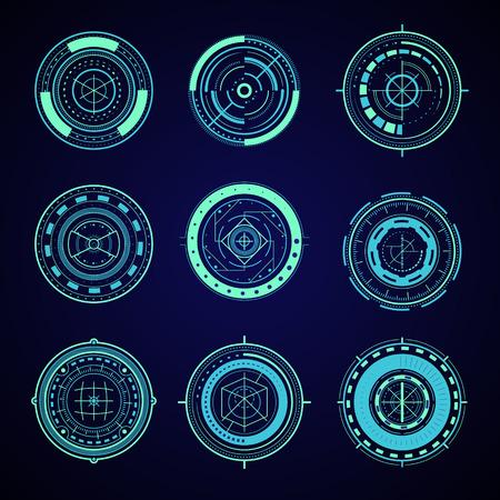 HUD Interface Futuristic Graphic Elements Set. Vector