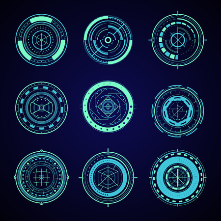 HUD Interface Futuristic Graphic Elements Set. Vector