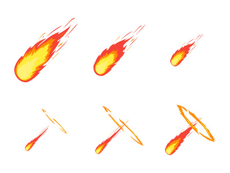 Cartoon Fall Comet or Meteorite Effect Stages Set Element Decoration Flat Style Design. Vector illustration Illustration