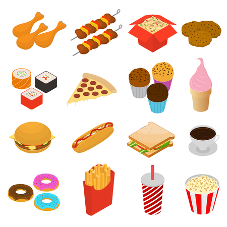 cupcakes isolated: Fast Food Color Icon Set Isometric View for Menu with Hotdog Pizza Chicken and Donut Element. Vector illustration