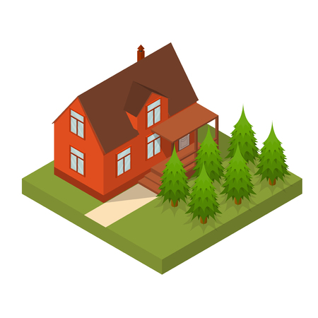 Residential Building Isometric View. Vector Illustration