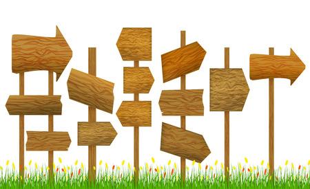 wooden post: Direction Wooden Arrow Set Row. Vector