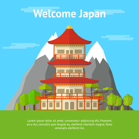 Cartoon Japanese Temple Banner Card. Traditional Building on a Landscape Background Flat Design Style. Vector illustration Stock Photo