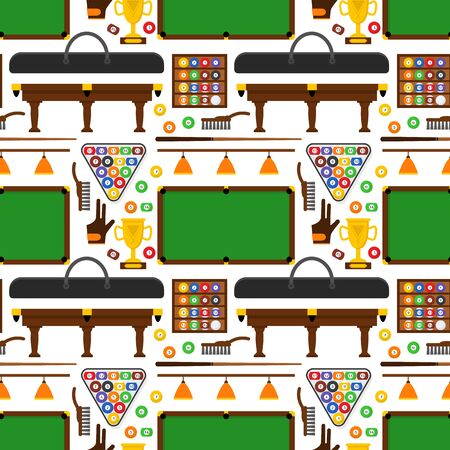 cue ball: Billiard Game Equipment Background Pattern. Vector Stock Photo