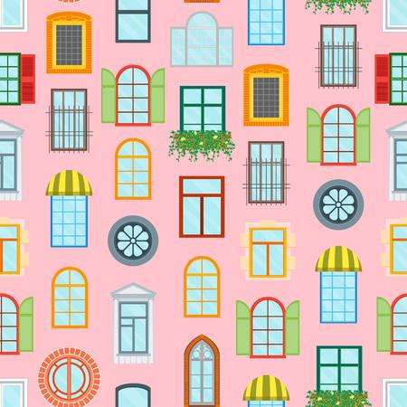 Cartoon Glass Windows motif de fond sur un élément de construction de décoration rose Urban Street Flat Style de conception. Illustration vectorielle