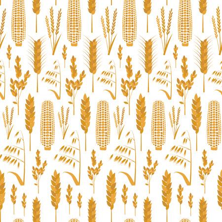 Karikatur-Getreide-Korn-Hintergrund-Muster. Vektor Standard-Bild - 82484305