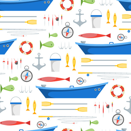 Cartoon Fishing Background Pattern. Vector Illusztráció