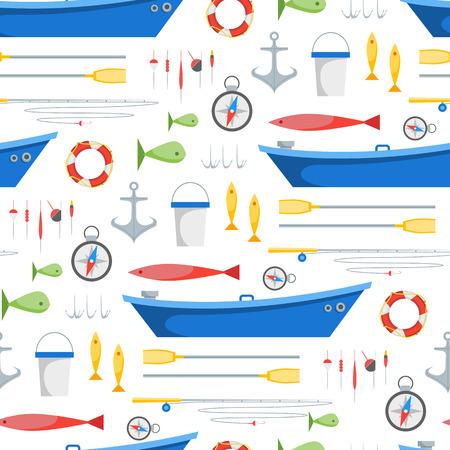 Cartoon Fishing Background Pattern. Vector Vettoriali