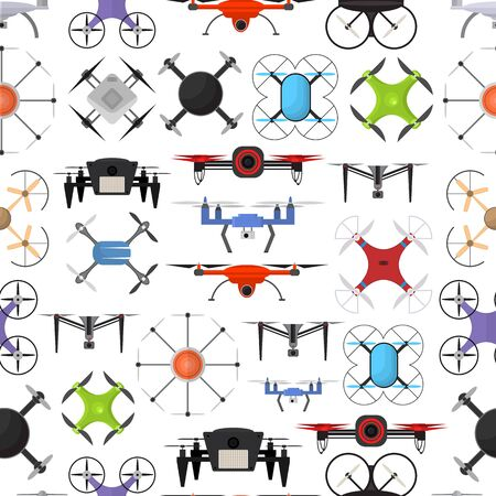 wireless: Air Drone Color Drone Background Pattern. Vector