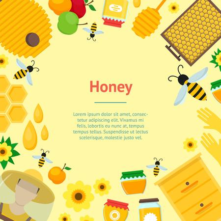 beekeeper: Cartoon Honey Banner Card. Vector