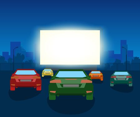 Vector Car Open Air Cinema. Vintage Illustration With Cars And Night City Foto de archivo