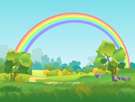 Vector Rural Landscape with Rainbow. Summertime Background with Park, Tree, Sky Illustration Imagens