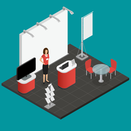 Exhibition Show Stand and Woman for Presentation Advertising and Promotion Business Isometric View. Vector illustration