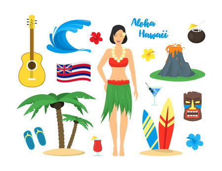 Cartoon Symbol Of Hawaii Color Icons Set Tourism Concept Flat Style Design. Vector illustration