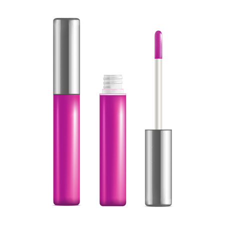 Realistic Detailed Pink Lip Gloss Set Open and Close Personal Woman Beauty Product. Vector illustration