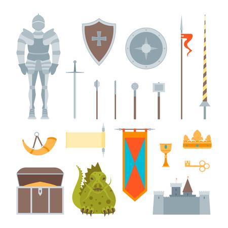 Cartoon Symbol Of Mediaeval Color Icons Set Fairytale or Fantasy Concept Flat Style Design. Vector illustration