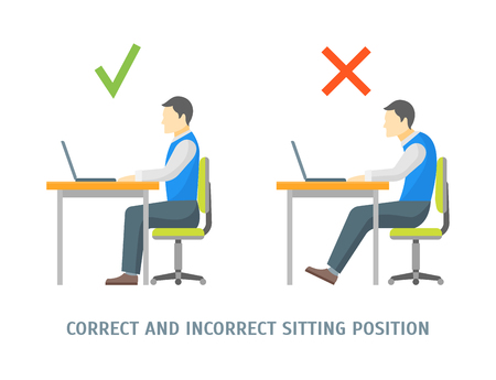 Incorrect and Correct Sitting Position Man Card Healthcare Concept. Flat Design Style. Vector illustration