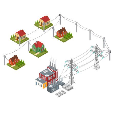 Electricity Power Station Isometric View. Vector