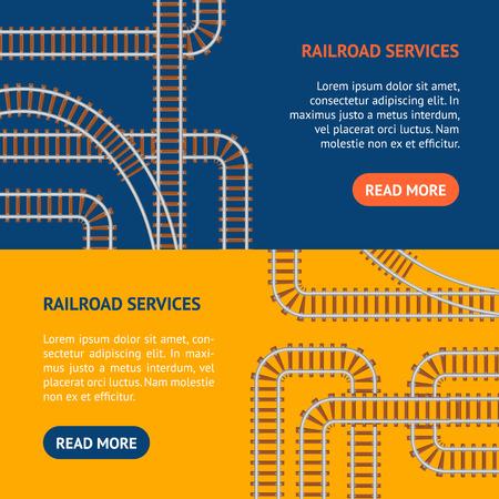 railtrack: Railroad Banner Horizontal Set. Vector