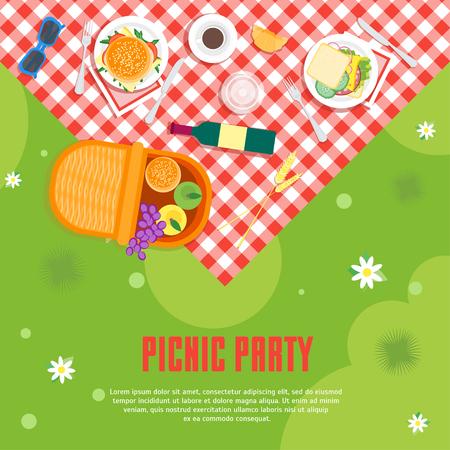 Cartoon Summer Picnic in Park Basket Card Background. Vector