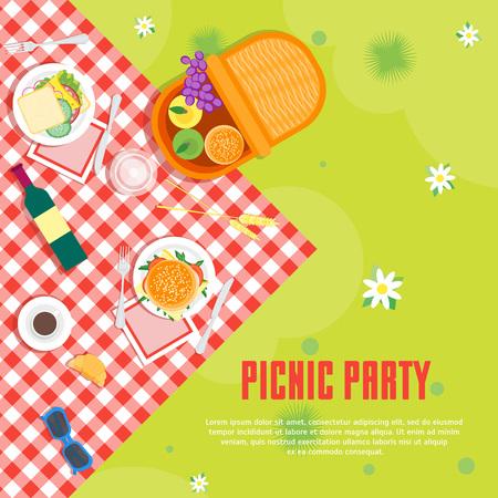 Picnic de verano de dibujos animados en el fondo de la tarjeta de la canasta del parque. Vector