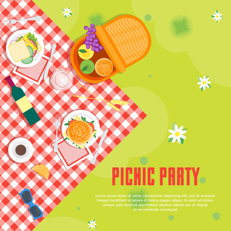 Cartoon Summer Picnic in Park Basket Card Background. Vector