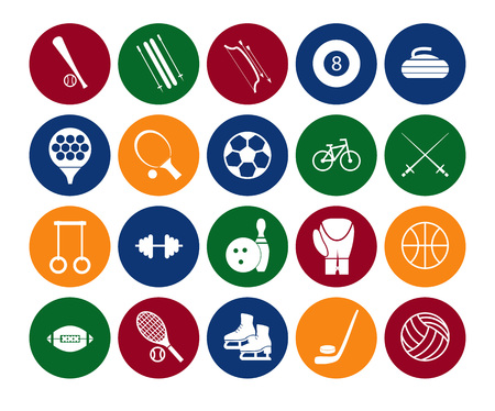 Sport Icon Signs and Symbols Set Color in the Circle. Vector