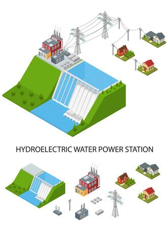 水力発電所と要素は、等角投影ビューを設定します。ベクトル