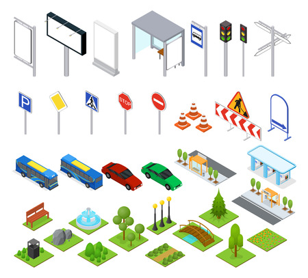 Street and Park Objects Set Isometric View. Vector