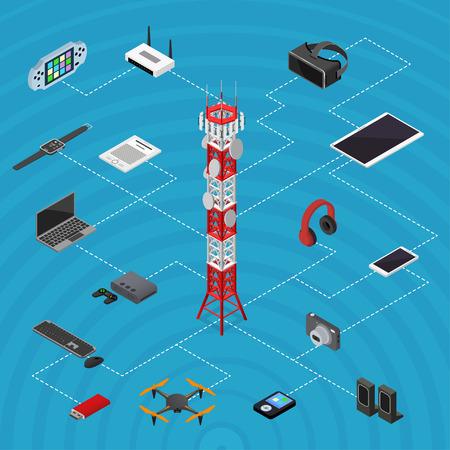 通信塔携帯電話ベースと要素は、等角投影ビューを設定します。ベクトル