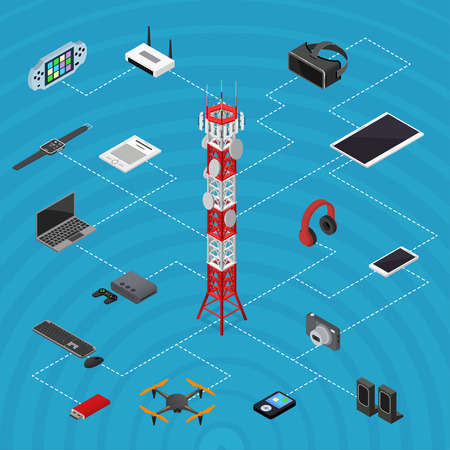 Communications Tower Mobile Phone Base and Element Set Isometric View. Vector