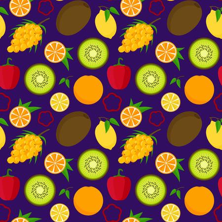 Aliments de dessin animé avec motif de fond de vitamine C. Vecteur Banque d'images - 83077314