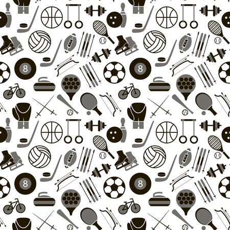Sport Signs and Symbols Black Background Pattern.. Vector Stock Vector - 83077313
