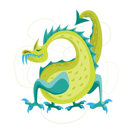 Cartoon Green Fantasy Animal Dragon Cute Magic Air or Water Mythology Monster Flat Style Design. Vector illustration. Illustration