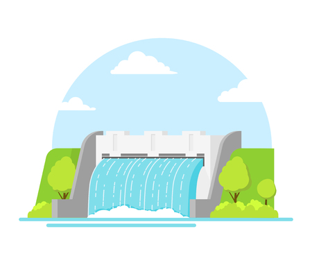 hydroelectricity: Cartoon Hydroelectric Station on a Landscape Background. Vector